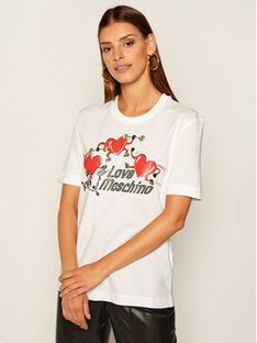 LOVE MOSCHINO T-Shirt W4H0602M 3876 Biały Regular Fit