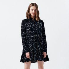 Cropp - Koszulowa sukienka w grochy - Biały