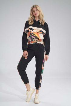 Sportowe Spodnie z Kolorowym Lampasem - Wzór 125