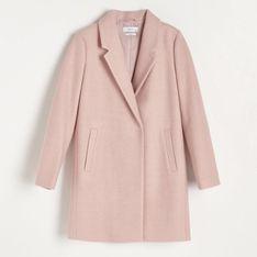 Reserved - Pudełkowy płaszcz z domieszką wełny - Różowy