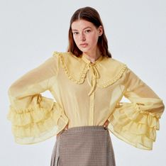 Reserved - RE.DESIGN Koszula z dekoracyjnym kołnierzem - Żółty
