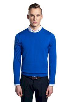 Niebieski sweter z okrągłym dekoltem Recman MOULIN