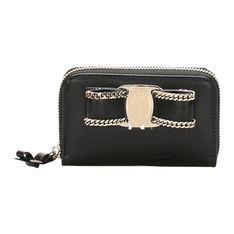 Mały skórzany portfel Vara z łańcuszkiem
