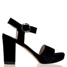 Lizard shoes - Czarne zamszowe sandały na