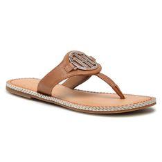 Japonki TOMMY HILFIGER - Essential Leather Flat Sandal FW0FW05620 Summer Cognac GU9