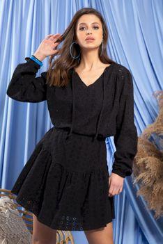 Komplet w Stylu Boho Bluzka + Spódnica - Czarny