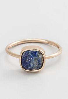 Rainbowstone - Pierścionek - Lapis lazuli - złoty/granatowy