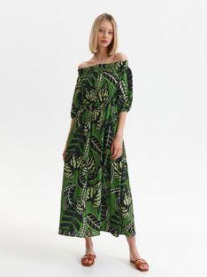 Długa sukienka z odkrytymi ramionami w nadruk w liście