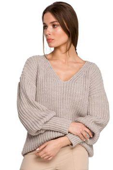Sweter V- Neck z Szerokim Ściągaczem - Beżowy