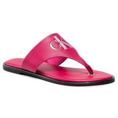 Japonki CALVIN KLEIN JEANS - Flat Sandal Toe Slide Lth YW0YW00028 Cerise XAP