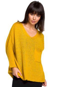 Miodowy Asymetryczny Oversizowy Sweter z Kieszonką