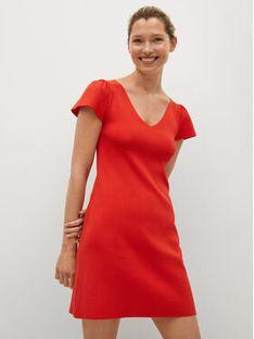 Mango Sukienka dzianinowa Frills 17010185 Pomarańczowy Regular Fit