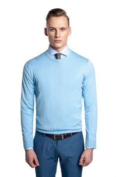 Błękitny sweter z okrągłym dekoltem Recman MOULIN