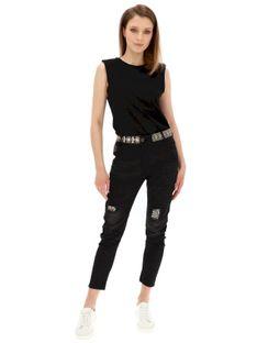 Czarne spodnie jeansowe z ozdobnym pasem Desigual CAMEL BOYFREND