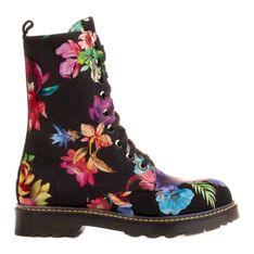 Marco Shoes Wysokie trzewiki, glany wiązane z nubuku z nadrukiem kwiatowym czarne