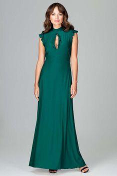 Zielona Subtelna Długa Sukienka z Falbankami