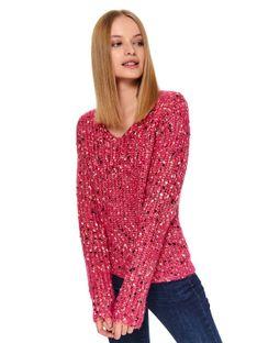 Damski sweter z metalizowaną nicią