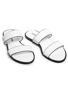 Calvin Klein Jeans Klapki Flat Sandal Twostraps Lth YW0YW00026 Biały