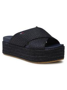 Tommy Jeans Espadryle Monochrome Mule Flatform EN0EN01382 Granatowy