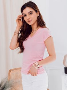 T-shirt damski basic 002SLR - jasnoróżowy