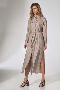 Długa Koszulowa Sukienka z Paskiem - Beżowa
