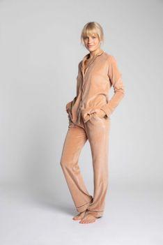 Welurowe Spodnie od Piżamy z Kontrastowymi Lamówkami - Beżowe