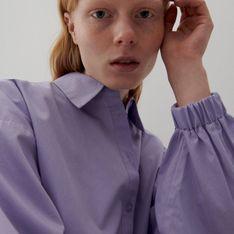 Reserved - Bawełniana koszula z bufiastymi rękawami - Fioletowy