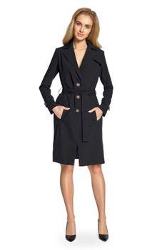 Czarny Płaszcz Jednorzędowy Trencz z Paskiem
