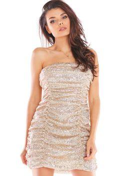 Cekinowa Sukienka Gorsetowa z Drapowaniem - Beżowa