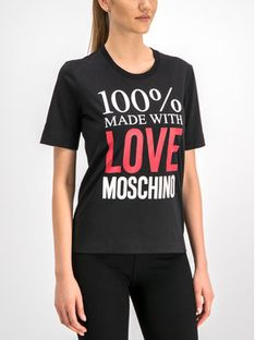 LOVE MOSCHINO T-Shirt W4F151IM3517 Czarny Regular Fit