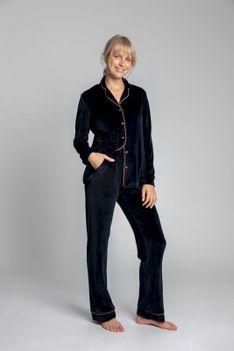 Welurowe Spodnie od Piżamy z Kontrastowymi Lamówkami - Granatowe