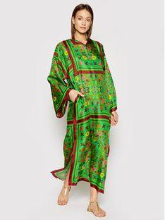 Tory Burch Sukienka plażowa Silk Scarf Caftan 82612 Zielony Relaxed Fit