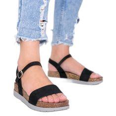 Czarne sandały z wkładką w panterkę Preatty Pea