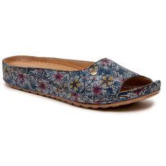 Klapki MACIEJKA - 02628-45/00-1 Granat Kwiatki
