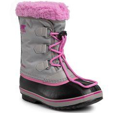 Wielokolorowe buty zimowe dziecięce Sorel sznurowane nylonowe