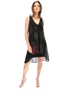 Czarna sukienka ze zwiewna górą Desigual ALIX