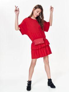 Luźna sukienka damska z falbaną