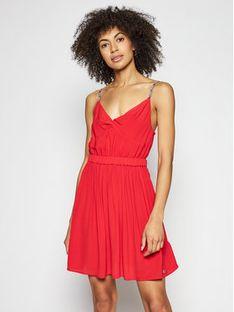 Tommy Jeans Sukienka letnia Essential DW0DW09934 Czerwony Slim Fit