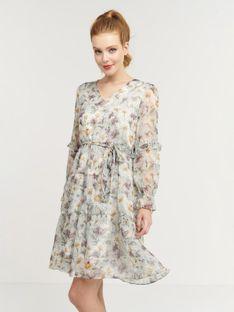 Sukienka midi szyfonowa w kwiaty Smashed Lemon 21019-520-100