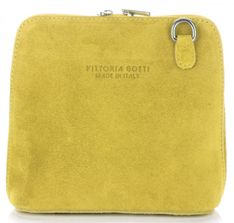 Torebki Skórzane Małe Listonoszki firmy Vittoria Gotti Made in Italy Żółte (kolory)