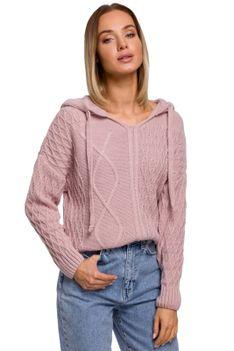 Nierozpinany Sweter z Kapturem - Różowy