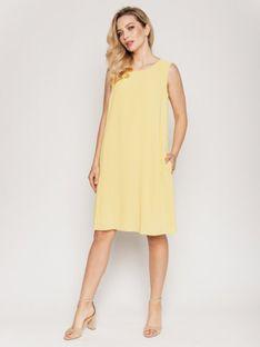 Żółtka trapezowa sukienka Bialcon