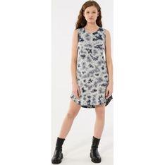 Sukienka Outhorn bez rękawów szara z okrągłym dekoltem trapezowa mini
