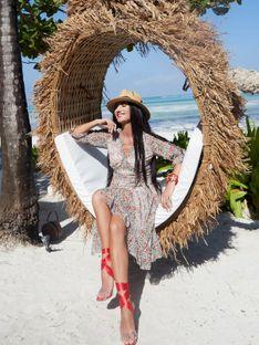 Sukienka ze wzorem w panterkę i kwiaty L'AF HERANA