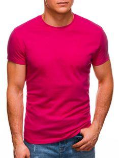 T-shirt męski basic 970S - ciemnoróżowy