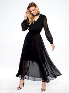 Czarna sukienka maxi z ozdobnym dekoltem L`AF GRETA