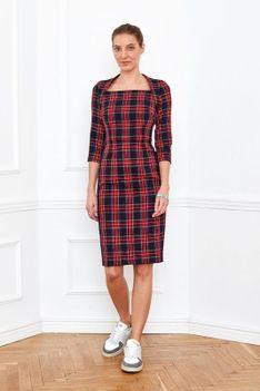 Sukienka dopasowana BOLD AND BEAUTIFUL krata czerwona Risk Made in Warsaw