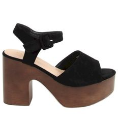 Sandałki drewniaki czarne F8201 Black