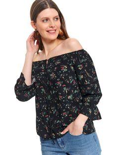 Printowana bluzka damska z bufiastymi rękawami