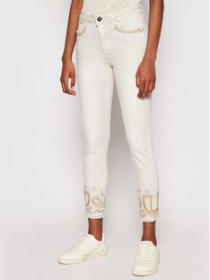 Desigual Jeansy Ankle Paisley 21SWPN15 Beżowy Skinny Fit